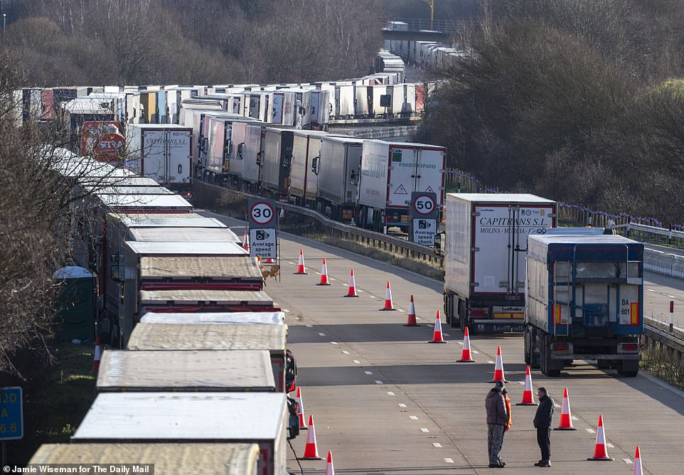 Hundreds of stranded lorries are seen on the M20 in Kent as they try to reach the Port of Dover on Christmas Day