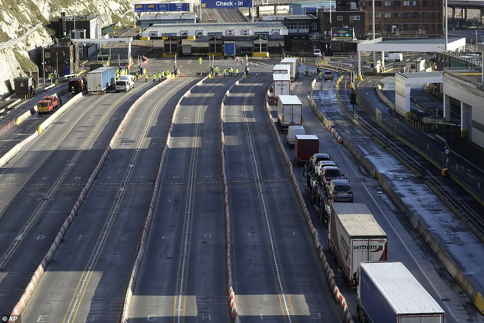 Trucks line up at check-in to the ferry at The Port of Dover, Kent on Christmas Day, as thousands wait to resume their journeys