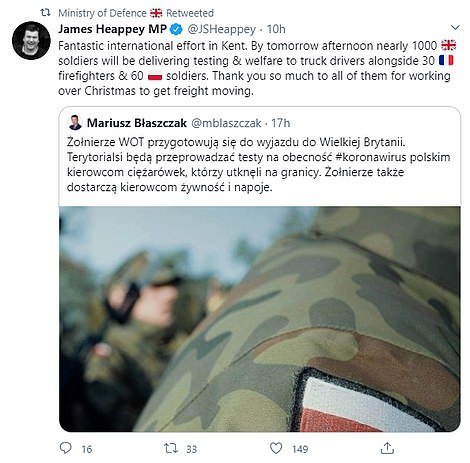 James Heappey MP,Minister for the Armed Forces, tweeted that 30 French firefighters and 60 Polish soldiers would join the military taskforce