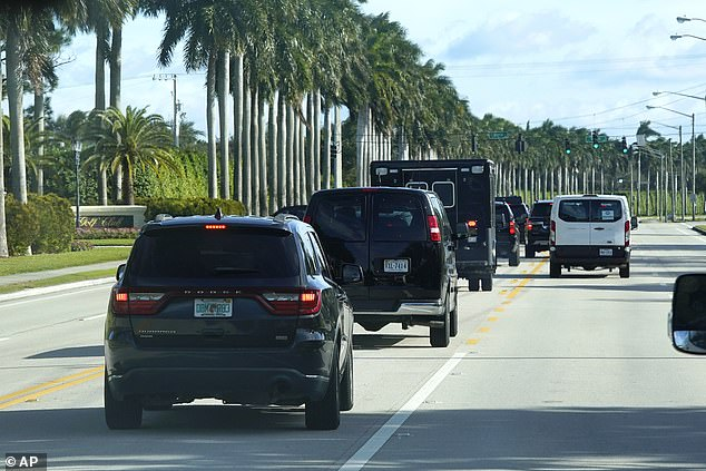 The president's motorcade drove Trump and Graham to the Trump International Golf Club in West Palm Beach, Florida Friday morning