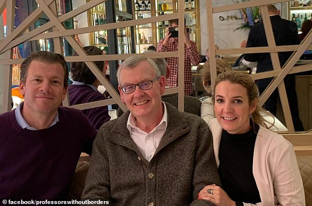 The former royal appears to have known Frank for several years, with her organisation Professors Without Borders sharing a picture of the duo together in October 2019 (pictured, left, Frank, centre, trustee Piers Hedley, right, Tessy)