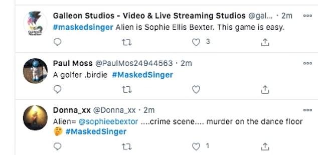 General consensus: One fan wrote: 'I think Alien is Sophie Ellis Bexter! #MaskedSingerUK #maskedsinger. Crime scene is murder on the dance floor'