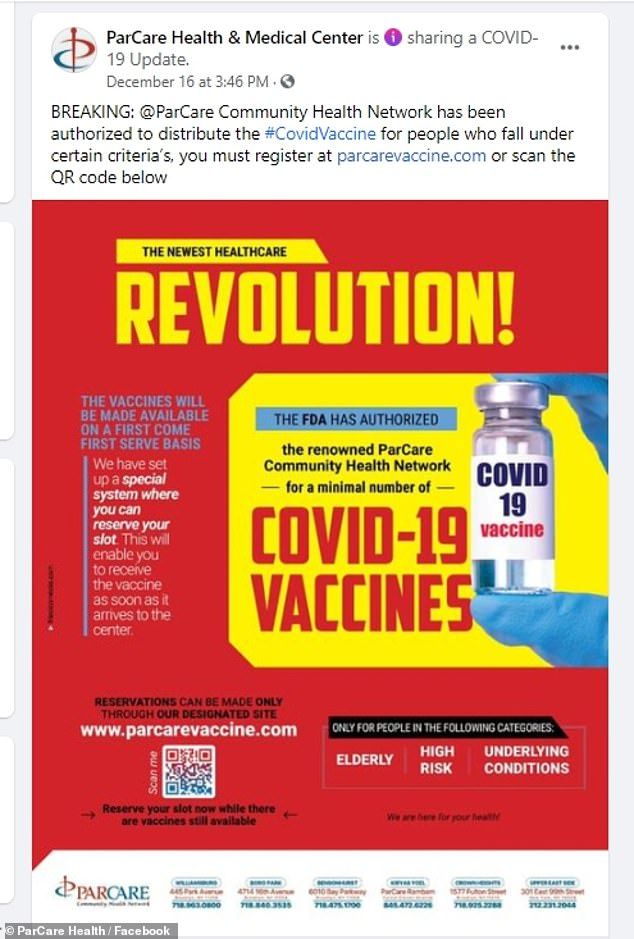 Parcareposted on December 16 to say that they had been 'authorized to distribute the #CovidVaccine for people who fall under certain criteria' but are not officially listed