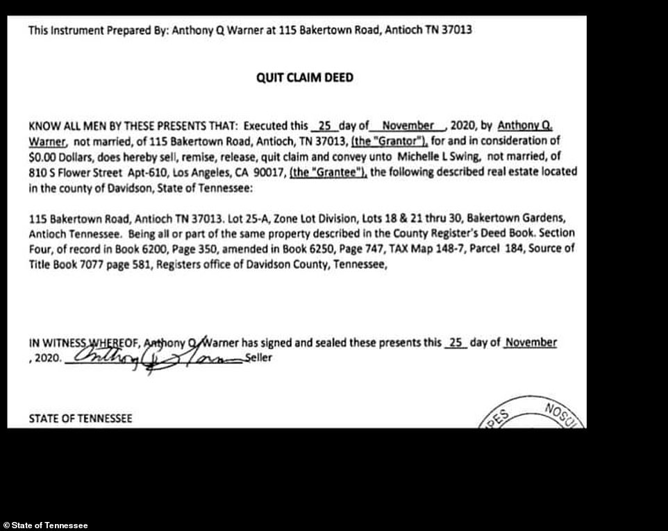 Anthony Quinn Warner, 63, signed the property away via a quitclaim deed to Michelle Swing, a 29-year-old woman living in Los Angeles, for $0.00, according to county records pictured above.Swing's signature does not appear on the November 25th transfer and she told DailyMail.com she knew absolutely nothing about it