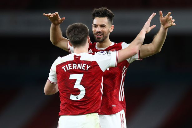 Tierney celebrates the victory with teammate Pablo Mari