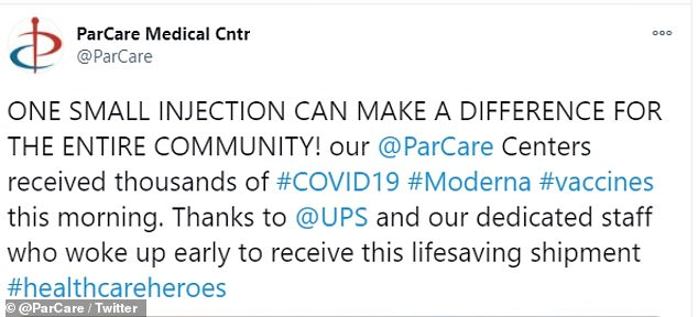 On December 21 ParCare, which has six locations, posted that it received the COVID-19 vaccine even though the clinic wasn't officially listed to receive the doses