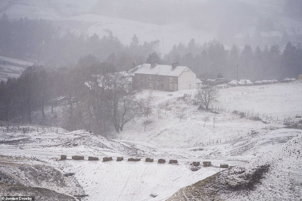Parts of the north west of England have seen snow and sleet this morning. Pictured: Nenthead in Cumbria on Sunday