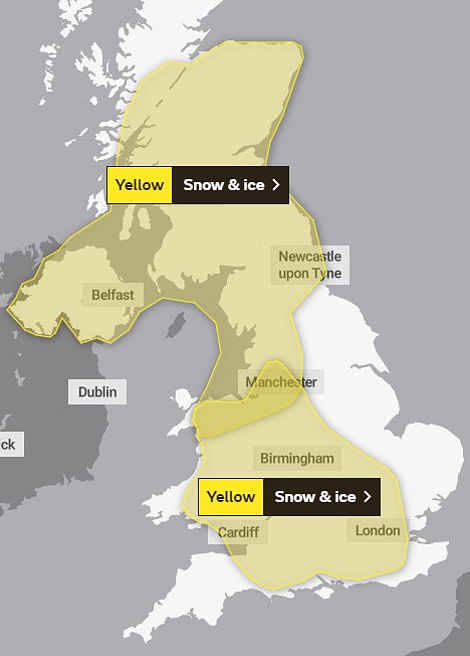 The Met Office yellow warning for snow and ice across the UK on Monday