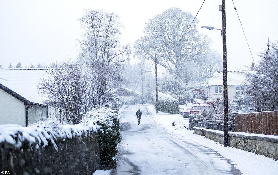 Much further south in Scotland, Killin in Stirlingshire was also covered with snow on Sunday