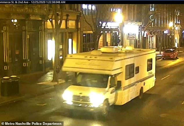 The RV used in the Christmas morning bombing is shown above hours before it exploded