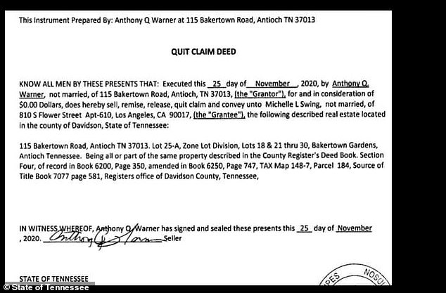 Swing's signature does not appear on the November 25th transfer and she told DailyMail.com she knew absolutely nothing about it