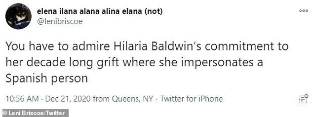 The online frenzy over Hilaria's heritage was sparked on December 21 when a woman tweeted: 'You have to admire Hilaria Baldwin's commitment to her decade long grift where she impersonates a Spanish person'