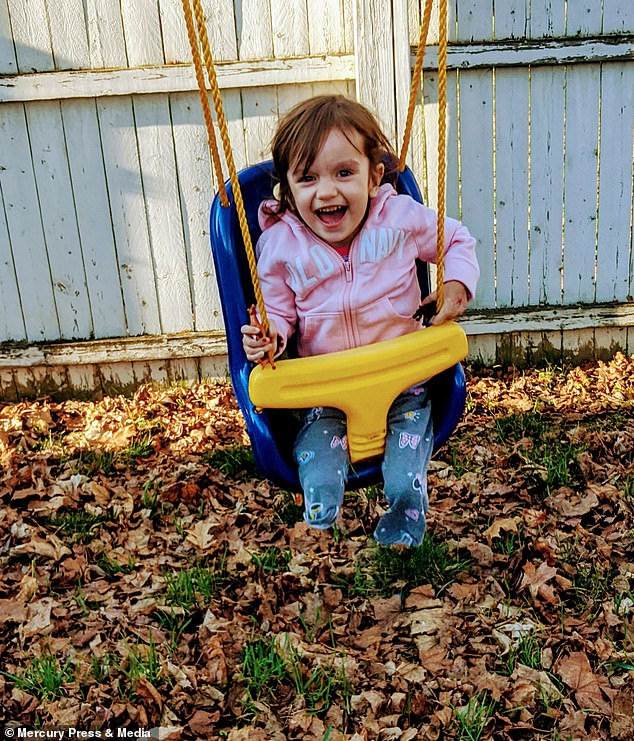 After surviving against all odds, Riley , pictured at two-years-old, is now loving life and started preschool last month