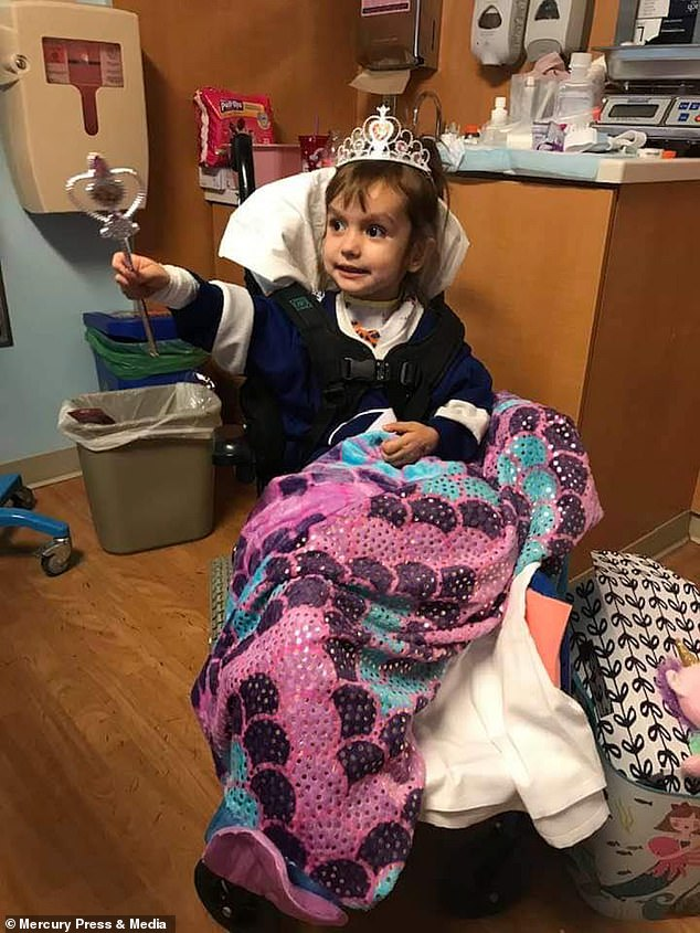 Doctors covered Riley's stumps with blankets to slowly introduce them to the two-year-old after amputation