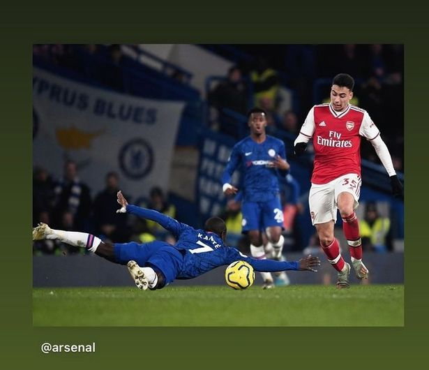 Martinelli uploaded this image from January to his Instagram account mocking Kante
