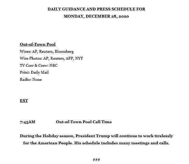 President Trump's public schedule for Monday