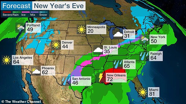 The winter storm is expected tobring rain to most parts of the East Coast on New Year's Eve