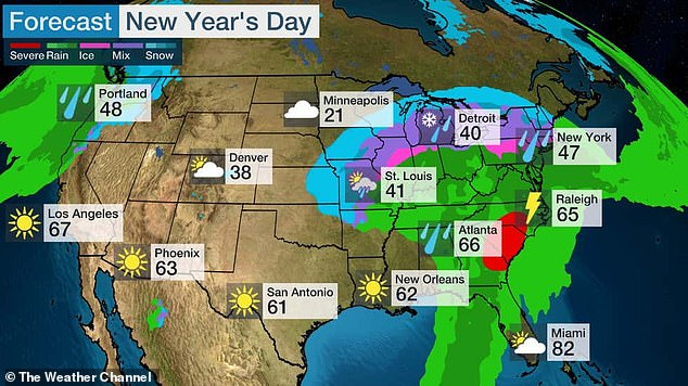 New Year's Day will also see rain on the East Coast and a wintry mix in the Great Lakes region