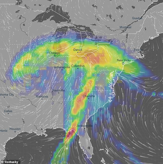 The Gulf and East Coasts are expected to be hit with high amounts of rain on New Year's Eve