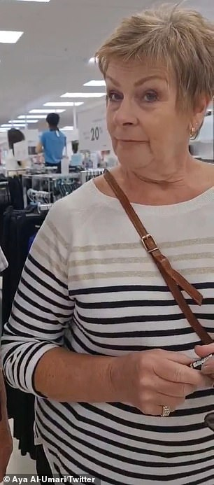 The woman (pictured) heard Ms Al-Umari and her mother discussing a lipstick in Arabic then began questioning them over whether they were 'born and bred in New Zealand'