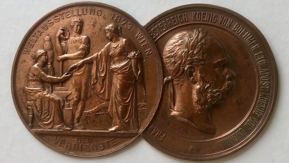 Medal won by Pryce Jones at the Vienna Fair in 1873.