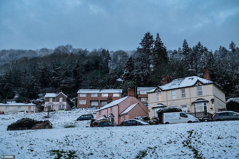 Snow on the Malvern Hills in Worcestershire this morning as more severe weather is forecast by the Met Office