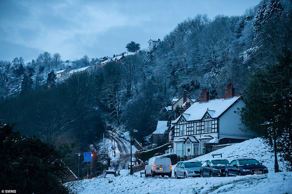 Snow on the Malvern Hills in Worcestershire this morning after flurries fell in many parts of the country