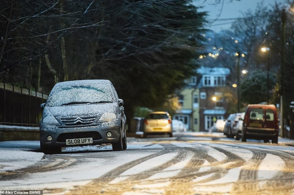 Icy roads are pictured in Leeds this morning following snowfall in the West Yorkshire city and further afield