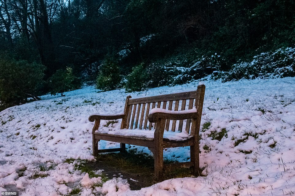 A snow-covered bench on the Malvern Hills in Worcestershire this morning with more severe weather on the way