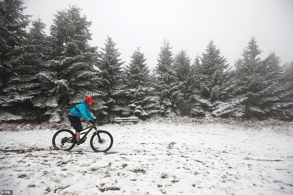 A man cycles through the snow in Mortimer Forest near Ludlow in Shropshire yesterday amid the wintry conditions