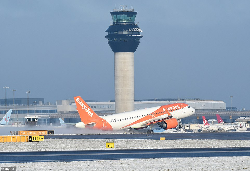 An easyJet plane is pictured at Manchester Airport yesterday amid the snow conditions in parts of northern England