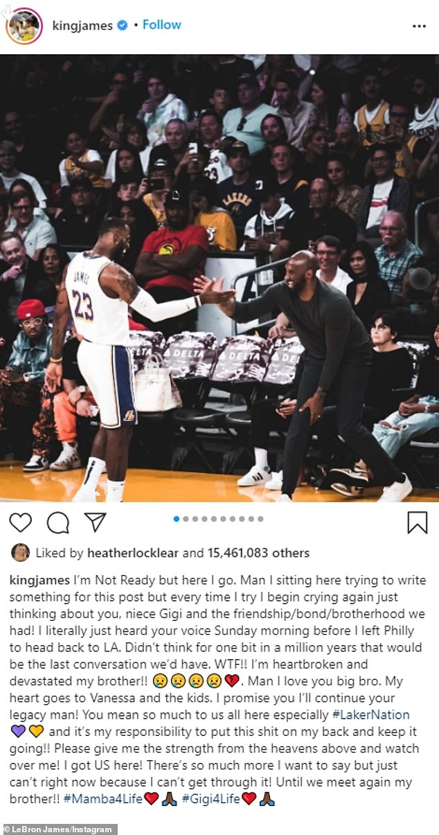 A sad farewell:The fifth most liked image was from LeBron James. He is in his basketball uniform as he says hello to Kobe in a courtside seat during a game. He racked up 15,472,231 likes. The caption read, 'I'm Not Ready but here I go'