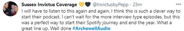 The podcast is a 'holiday special' that ends with their 19-month-old son Archie giggling at the end as he wishes people a 'fun' 2021. Pictured is some of the Twitter reaction it generated