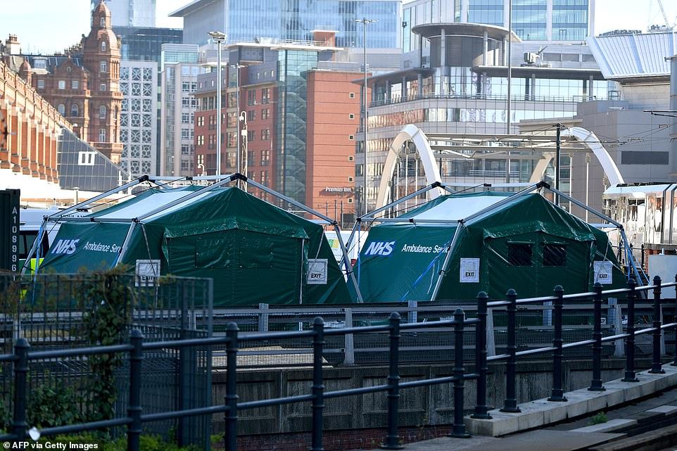 Tents used to treat victims of terror attacks (like these ones) could be set up outside hospitals overrun with coronavirus patients, it was claimed today