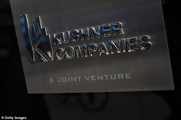 A Kushner Companies logo is visible near an entrance to the Kushner Companies' flagship property 666 Fifth Avenue in midtown Manhattan