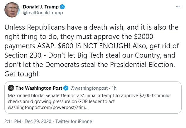 'Unless Republicans have a death wish... they must approve the $2000 payments ASAP,' Trump tweeted, adding: '$600 IS NOT ENOUGH!'