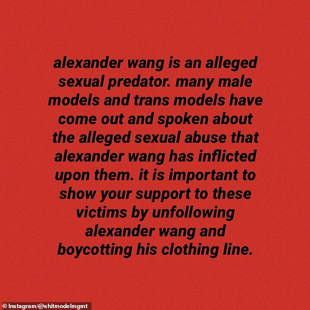 The allegations against Wang went viral on Monday, when industry watchdog Sh*t Model Management posted stories from several different accusers on Instagram (pictured)
