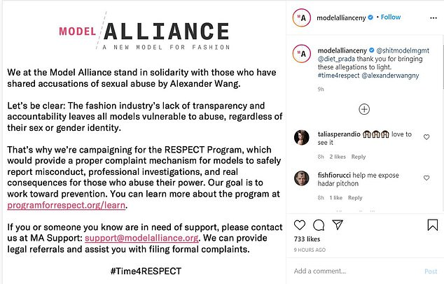 Fashion advocacy organization Model Alliance released a statement on Tuesday in support of Wang's accusers