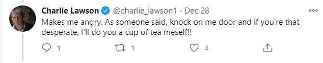 Some of his fans replied to the tweet, with one posting: 'Jeez Charlie, haven¿t you the great way with words!'