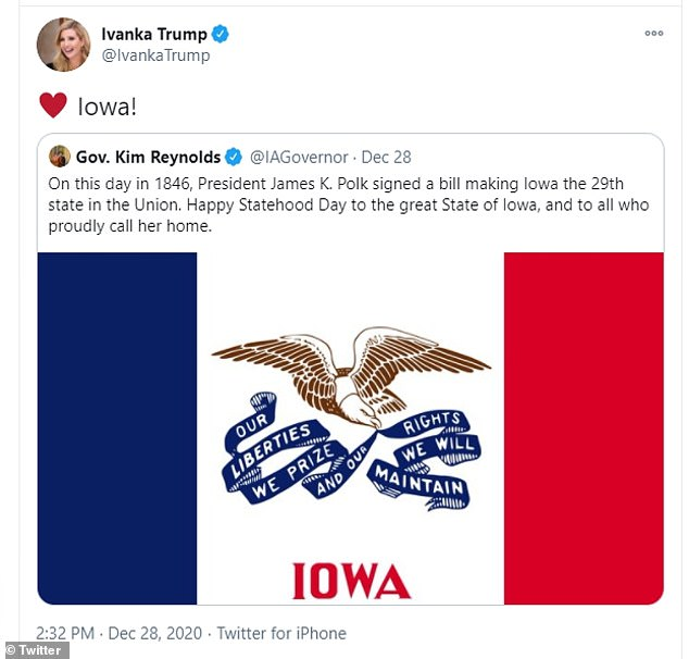 Rumors sparked after Ivanka posted a tweet giving her love, by way of heart emoji, to Iowa while the state's Governor Kim Reynolds celebrated the anniversary of Iowa statehood