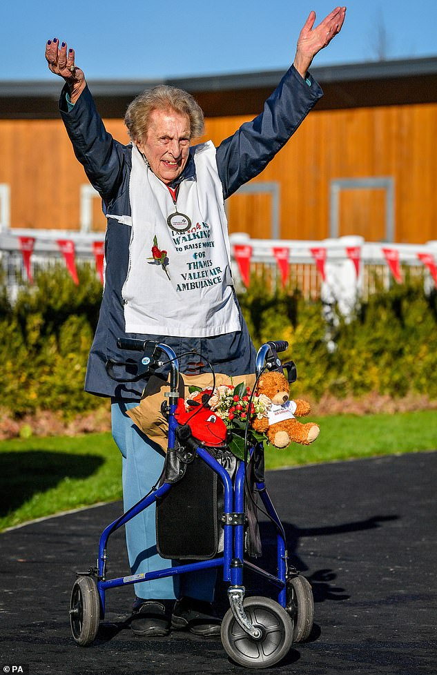 Mrs Saunders, a former Red Cross nurse and great-grandmother, walked 130 laps of her garden to cover the 26.2 miles and said it had helped to ease her arthritis. She raised almost £39,000