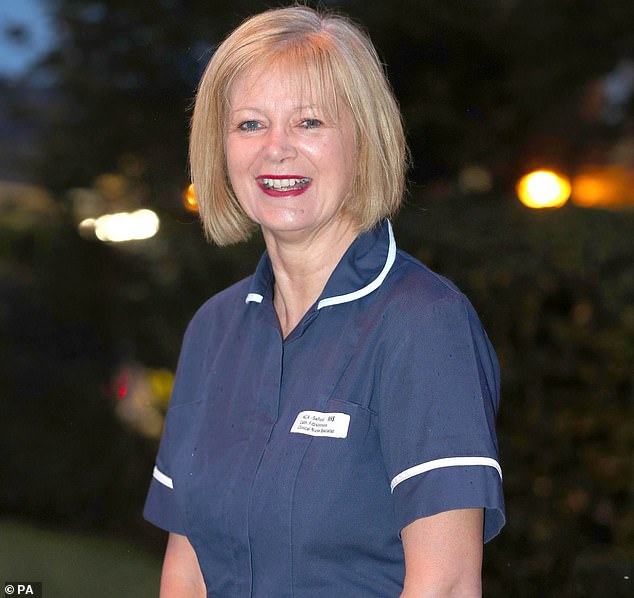 Another nurse, Catherine Fitzsimmons (above), 62, had retired from NHS nursing after 41 years but returned to Salford Royal Hospital in Greater Manchester in April.She helped her team to set up online calls for families who could not go into hospitals to visit critically ill relatives, and said she felt 'extremely honoured and very, very emotional' to receive a British Empire Medal