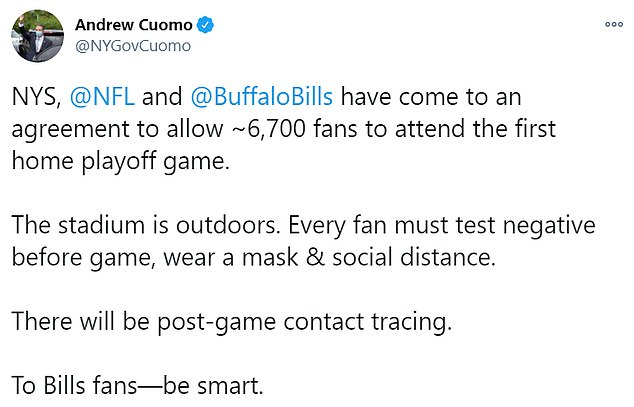 Cuomo tweeted the news on Wednesday, urging sports fans to 'be smart'
