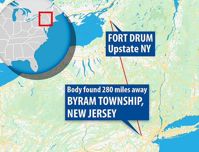 This map shows the distance between Fort Drum in upstate New York to Byram Township, New Jersey where Corporal Harris' body was found in woods