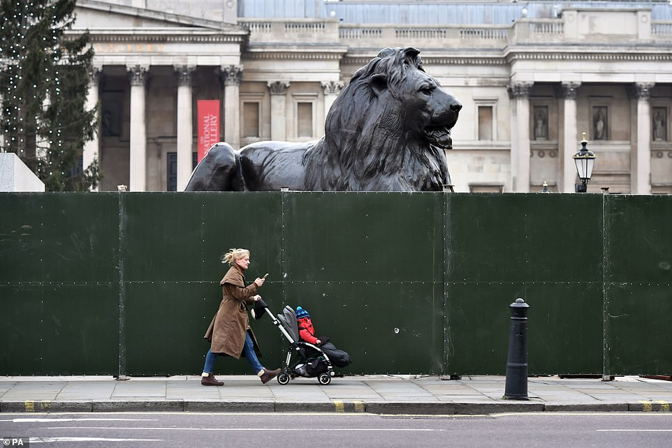 LONDON: Fencing was put up around parts of Trafalgar Square and Parliament Square ahead of New Year's Eve, with London and most of the UK's population effectively back in lockdown because of resurgent coronavirus cases