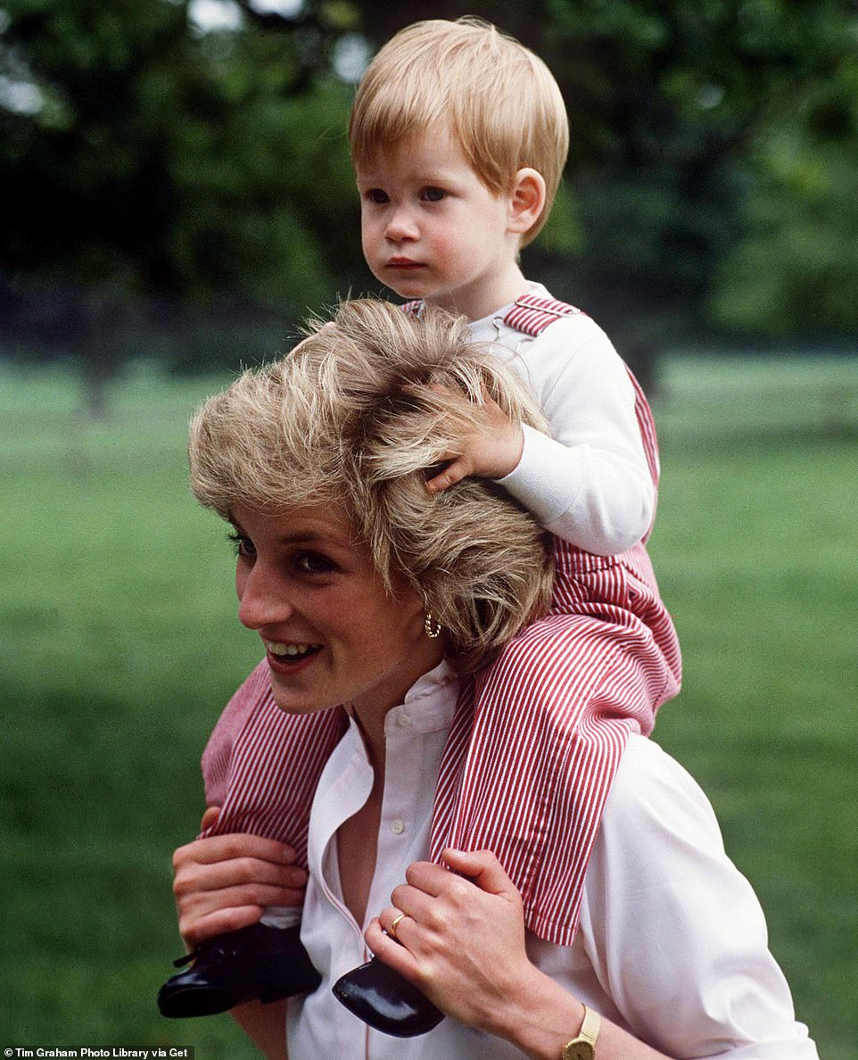 The website featured this picture of Princess Diana carrying Prince Harry on her shoulders at Highgrove on July 18, 1986