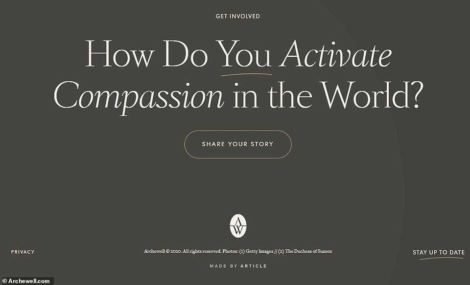 The website encourages people around the world to share their story on how they 'activate compassion in the world'