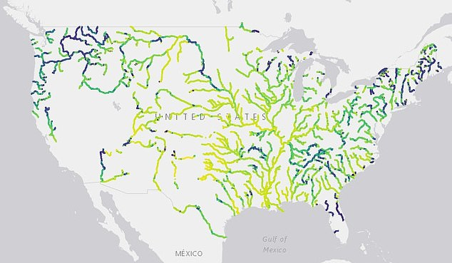 A THIRD of US rivers have changed from blue to green and yellow over three decades
