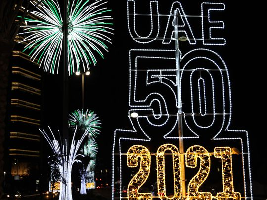 Abu Dhabi decked up with glittering lights ahead of the New Year