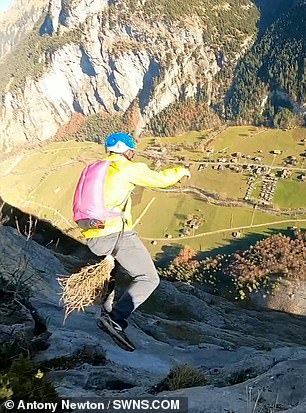 BASE jumpers leap off 650ft mountain on broomsticks in stunt inspired by Harry Potter Quidditch game